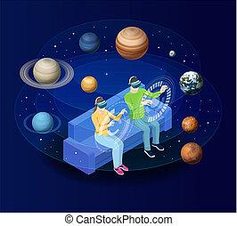 El hombre isométrico con gafas de realidad virtual mira los planetas del sistema solar. Sol, mercurio, venus, planeta tierra, Marte, Júpiter, Saturno, Urano, Neptuno. Ciencia y educación vector de fondo.