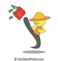 El hombre patea la caja del dinero