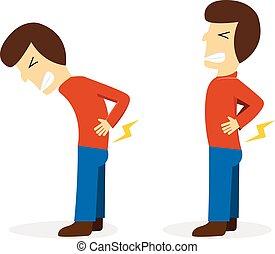 El hombre recibe dolor de espalda en vector blanco de dibujos animados