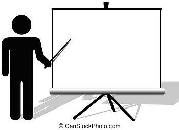 El hombre símbolo apunta a copiar el espacio en la pantalla de cine