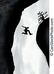 El hombre salta a través de la brecha
