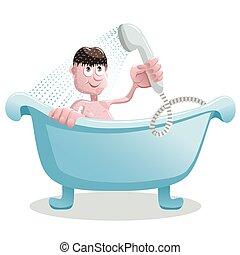 El hombre se ducha en el baño.