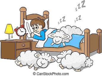 El hombre sin sueño despierta por la mañana por el despertador