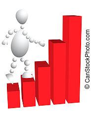 El hombre sube las escaleras como diagrama rojo