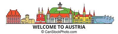 El horizonte austríaco, iconos de delgada línea austríaca, puntos de referencia, ilustraciones. Austria Cityscape, austríaco vector de vector de la ciudad. Silueta urbana