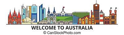 El horizonte de Australia, los iconos australianos de línea delgada, puntos de referencia, ilustraciones. Australia Cityscape, australiana vector de la ciudad. Silueta urbana