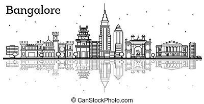 El horizonte de Bangalore con edificios históricos y reflexiones.
