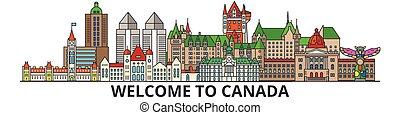 El horizonte de Canadá, los iconos de la línea plana canadiense, puntos de referencia, ilustraciones. Canadá Cityscape, la pancarta de vector de viaje canadiense. Silueta urbana
