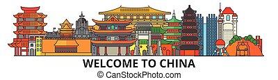 El horizonte de China, los iconos de delgada línea plana, puntos de referencia, ilustraciones. China Cityscape, vector chino viajar la bandera de la ciudad. Silueta urbana