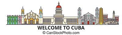 El horizonte de Cuba, iconos de delgada línea cubana, puntos de referencia, ilustraciones. Cuba Cityscape, estandarte de vector de viaje cubano. Silueta urbana