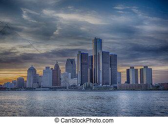 El horizonte de Detroit al atardecer