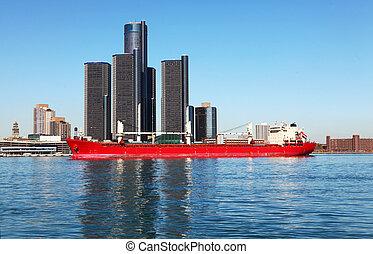El horizonte de Detroit con carguero