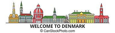 El horizonte de Dinamarca, iconos de delgada línea danesa, puntos de referencia, ilustraciones. Dinamarca Cityscape, la bandera de viajero danés de la ciudad. Silueta urbana