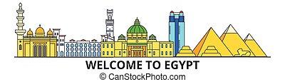 El horizonte de Egipto, iconos de delgada línea plana egipcia, puntos de referencia, ilustraciones. Ciudades egipcias, estandarte vectorial de viaje egipcio. Silueta urbana