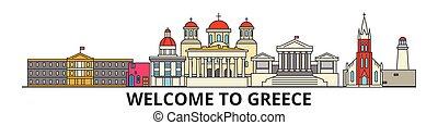 El horizonte de Grecia, los iconos de la delgada línea fina, puntos de referencia, ilustraciones. Grecia Cityscape, vector de vectores griegos de viaje ciudad. Silueta urbana