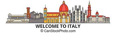 El horizonte de Italia, los iconos de línea delgada italiana, puntos de referencia, ilustraciones. Italia Cityscape, vector de viaje italiano. Silueta urbana