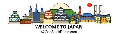 El horizonte de Japón, los iconos de delgada línea plana, puntos de referencia, ilustraciones. Japón Cityscape, vector de viajero japonés de ciudad. Silueta urbana