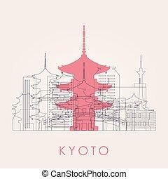 El horizonte de Kyoto con puntos de referencia.