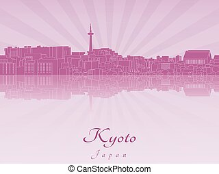 El horizonte de Kyoto en orquídea púrpura radiante
