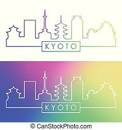 El horizonte de Kyoto. Estilo lineal colorido.