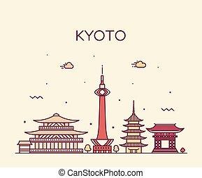 El horizonte de Kyoto, la ciudad de estilo lineal de Japón
