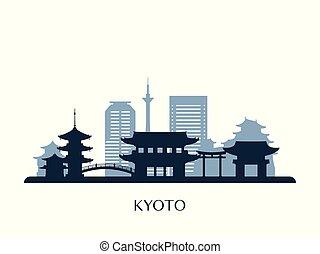 El horizonte de Kyoto, silueta de monocromo.