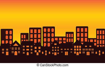 El horizonte de la ciudad al atardecer