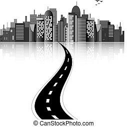 El horizonte de la ciudad con la carretera