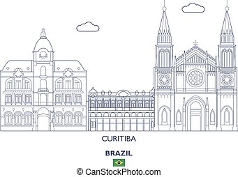 El horizonte de la ciudad de Curitiba, Brasil