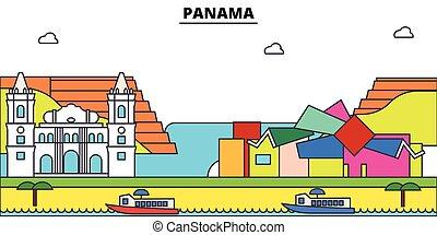 El horizonte de la ciudad de Panamá, ilustración lineal, estandarte, monumentos de viaje, edificios silueta, vector