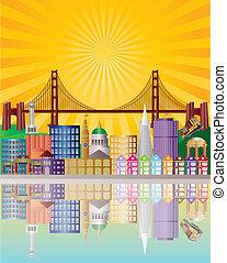 El horizonte de la ciudad de San Francisco al amanecer