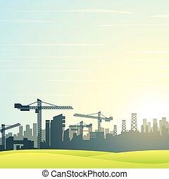 El horizonte de la ciudad moderna. Edificios de construcción