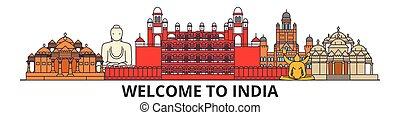 El horizonte de la India, los iconos de línea plana india, puntos de referencia, ilustraciones. India Cityscape, vector indígena de viaje ciudad. Silueta urbana