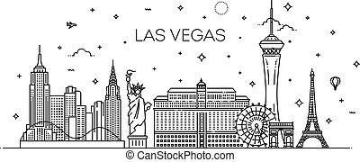 El horizonte de Las Vegas con vista a fondo blanco