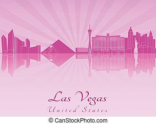 El horizonte de Las Vegas en orquídea púrpura radiante