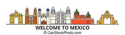 El horizonte de México, los iconos de delgada línea plana, puntos de referencia, ilustraciones. Ciudadescape de México, vector de viaje mexicano. Silueta urbana