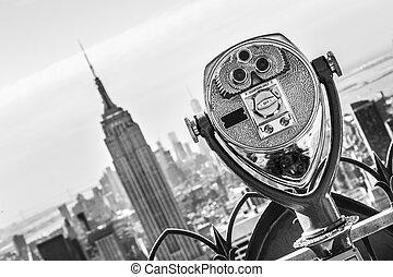El horizonte de Manhattan de Nueva York al atardecer.