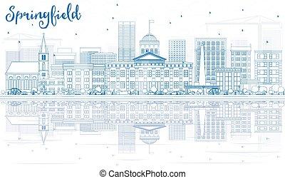 El horizonte de Springfield con edificios azules y reflejos.