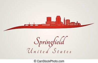 El horizonte de Springfield MA en rojo