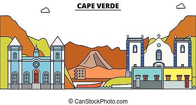 El horizonte de viaje de Cabo Verde. Ilustración de vectores de Ciudad Negra de Cabo Verde, símbolo, vistas de viaje, puntos de referencia.