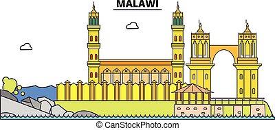 El horizonte de viaje de Malawi. Ilustración de vectores de la ciudad negra Malawi, símbolo, vistas de viaje, puntos de referencia.