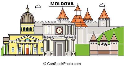 El horizonte de viaje de Moldavia plana. Ilustración de vectores de la ciudad negra de Moldavia, símbolo, vistas de viaje, puntos de referencia.