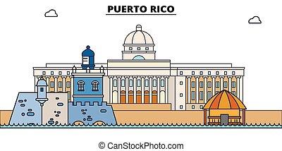 El horizonte de viaje de Puerto Rico. Ilustración de vectores de Puerto Rico, símbolo, puntos de viaje, puntos de referencia.
