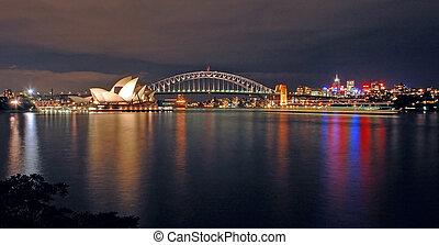El horizonte nocturno de Sydney