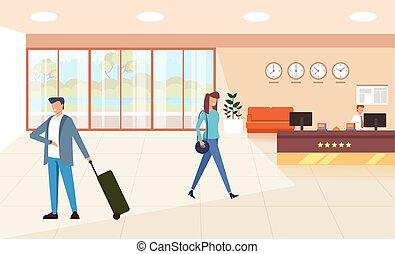 El hotel moderno apartamento de recepción con turistas esperando. El concepto del turismo. Ilustración de dibujos animados de diseño plano vectorial