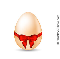 El huevo de Pascua envolviendo el moño rojo