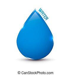 El icono de agua azul aislado en blanco
