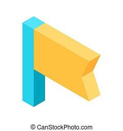 El icono de bandera amarilla que significa ilustración aislada