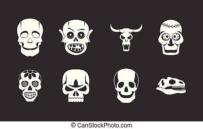 El icono de cráneo marca vector gris