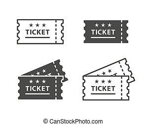 El icono de entradas en los antecedentes de vector blanco y negro